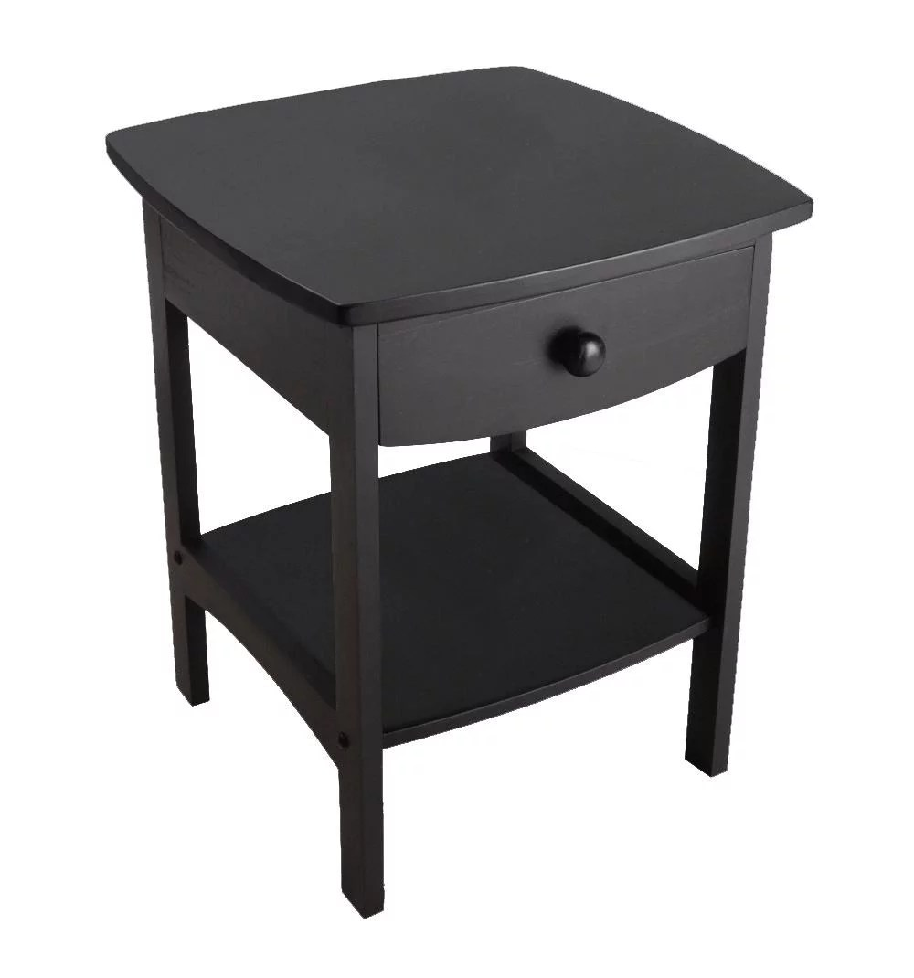 Black End Tables With Drawer Winsome Trading Curved 1 Drawer Nightstand End Table
