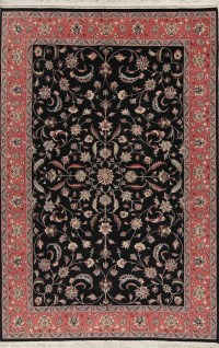RugSelect Floral Kashan Hand Knotted Wool Black 6x9 ...
