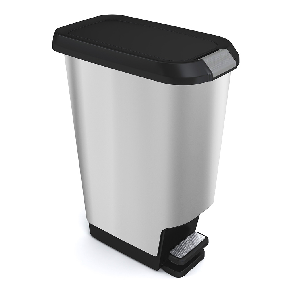 Small White Trash Can With Lid Curver Alto 42 Liter Step Can Stainless Steel Look Wastebasket With Black Lid Plastic Trash Can