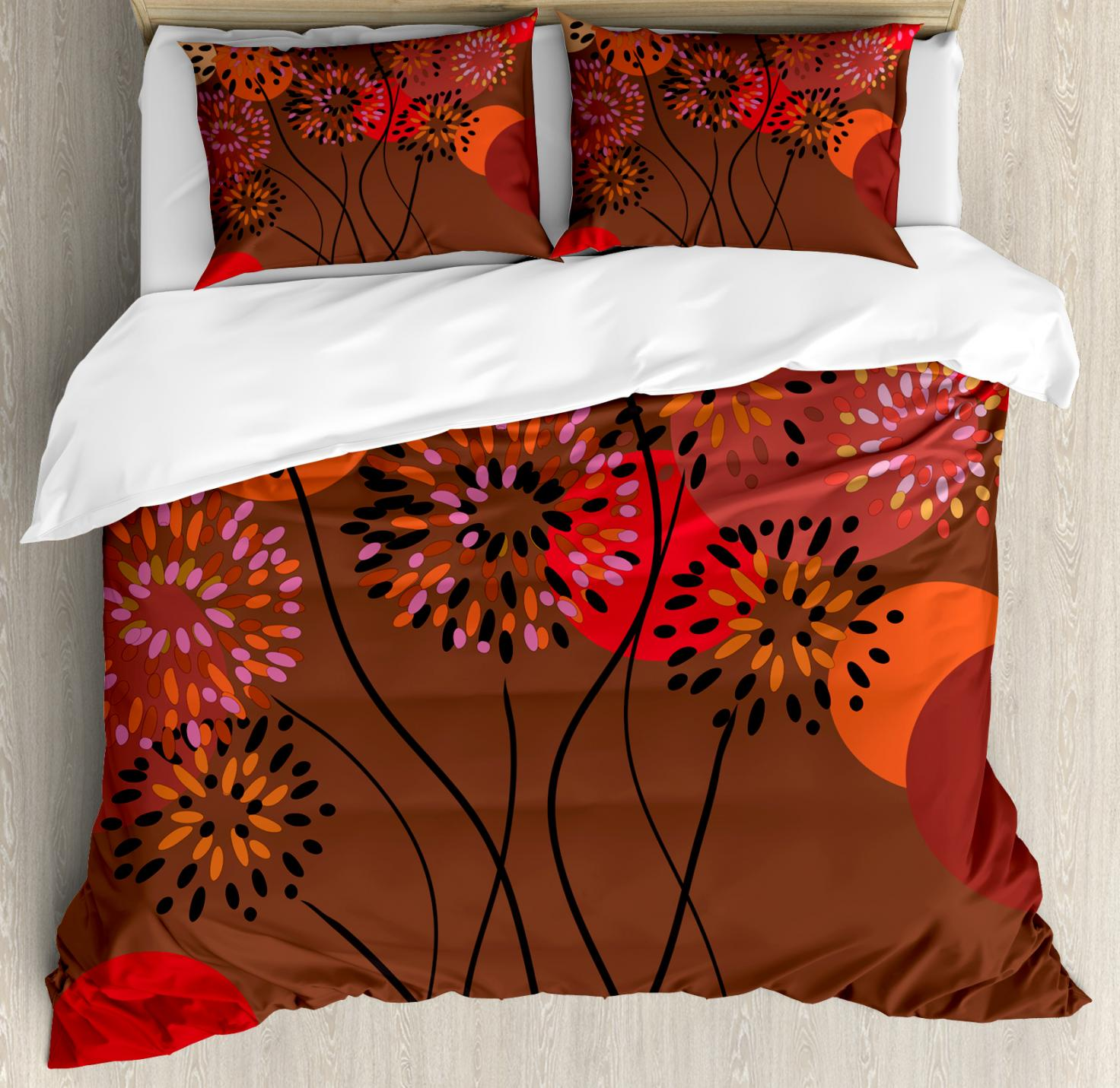 Patterned Duvet Cover Dandelion Duvet Cover Set Floral Patterned Illustration With Wavy Pedicles And Big Dots In Autumn Colors Decorative Bedding Set With Pillow Shams