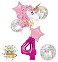 "Unicorn Party Supplies ""Believe In Unicorns"" 4th Birthday ..."