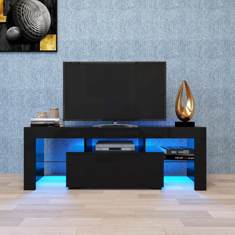 Tv Sideboard Modern Tv Console Table With Storage, Segmart Modern Black Tv ...