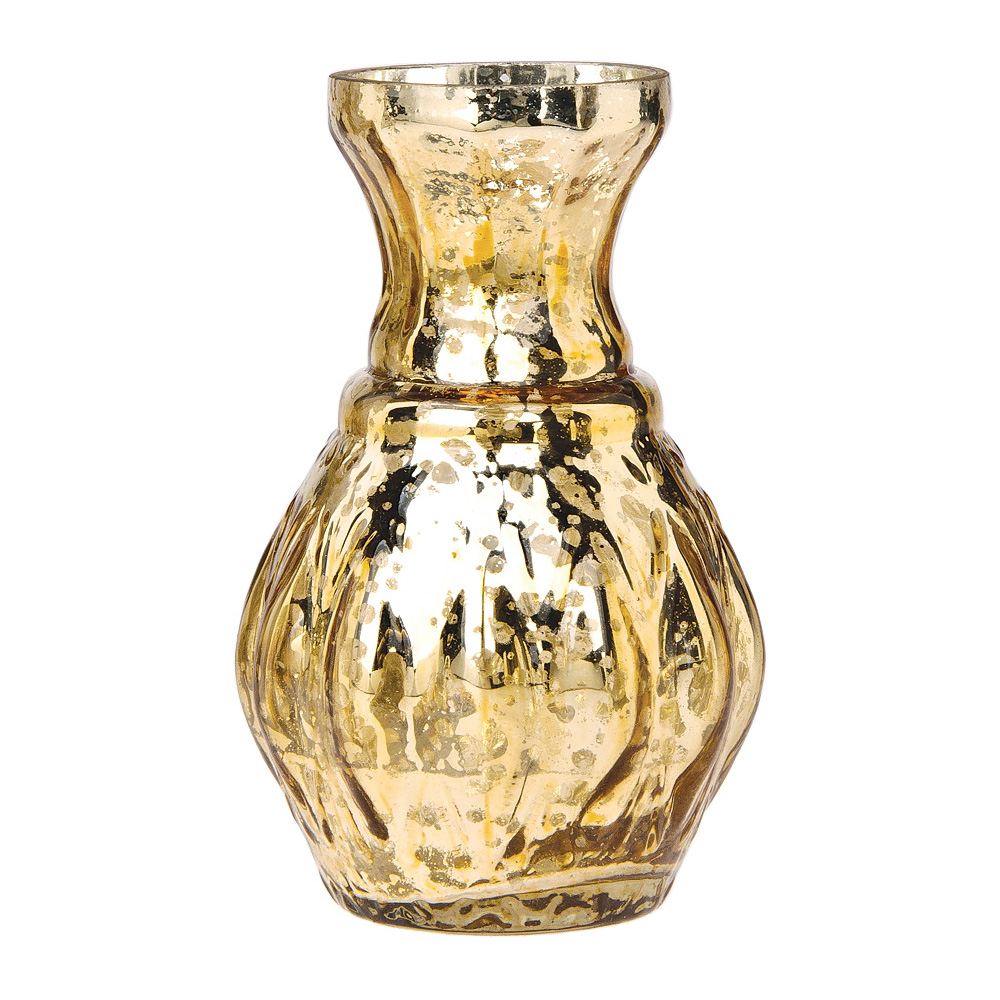 Vase Gold Vintage Mercury Glass Vase 4 Inch Bernadette Mini Ribbed Design Gold Decorative Flower Vase For Home Decor Party Decorations And Wedding