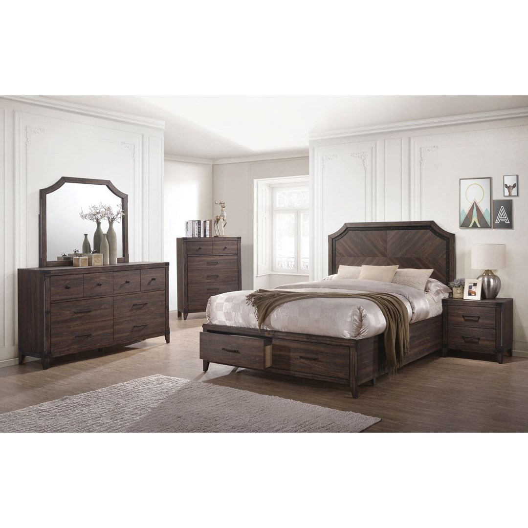 Dark Grey Oak Bedroom Furniture 4pc Set Queen Size Bed W Storage Drawers Fb Elegant Transitional Dresser Mirror Nightstand Walmart Com Walmart Com