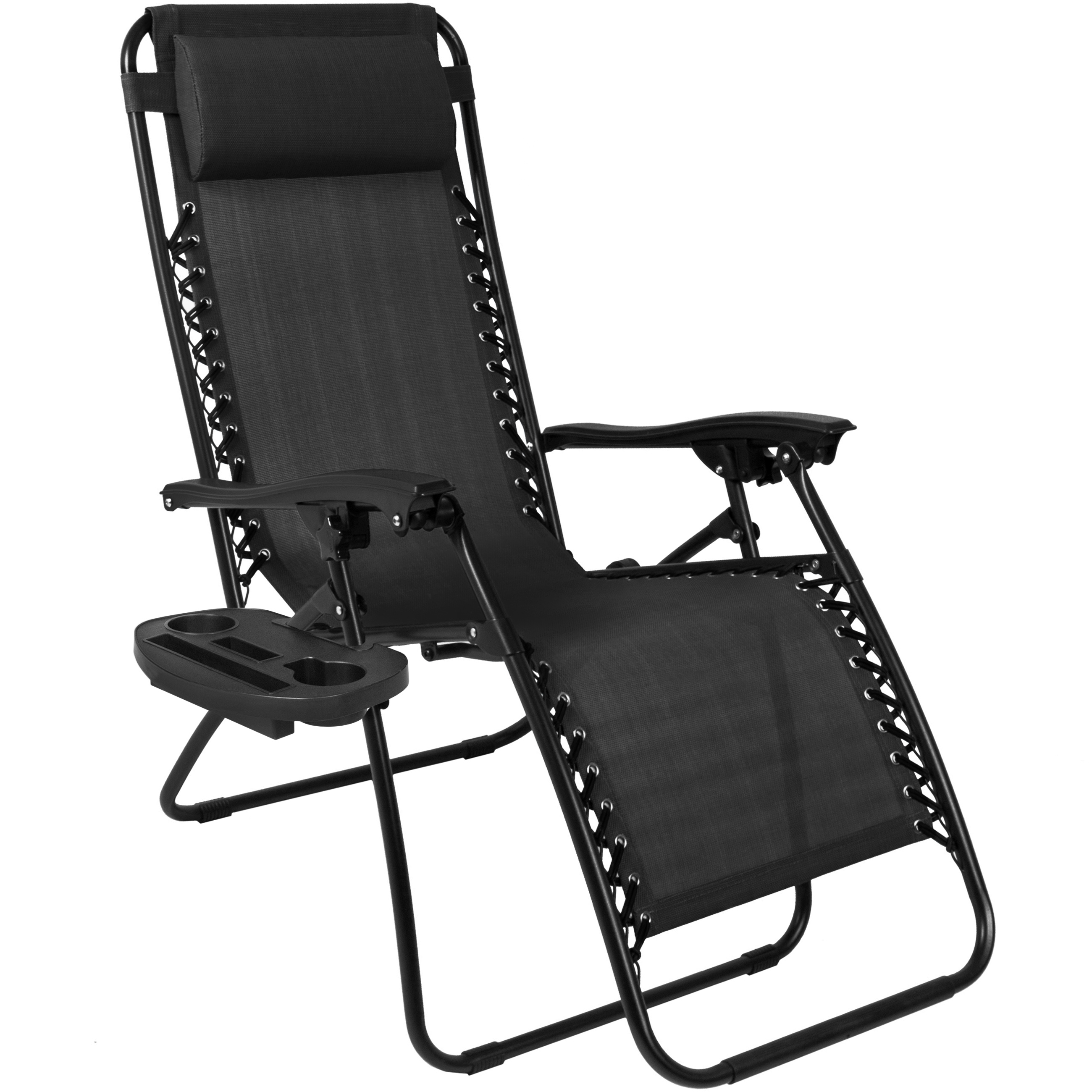 Zero gravity chairs case of 2 black lounge patio chairs utility pool tray cup holders walmart com