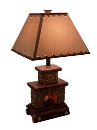 Western Style 6 Stone Fireplace Table Lamp w/ Linen Shade ...