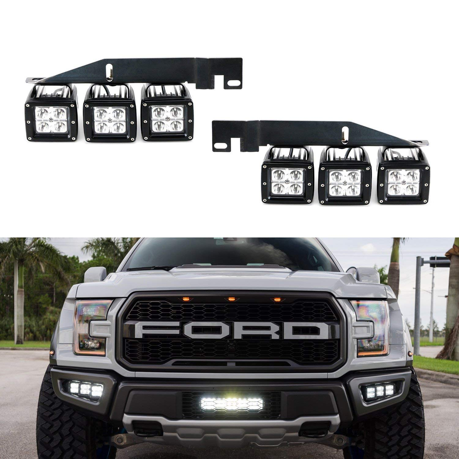 70 247 Ijdmtoy 70 247 White 6000k White Off Road Led Light 2017 2018 And Up Ford Raptor