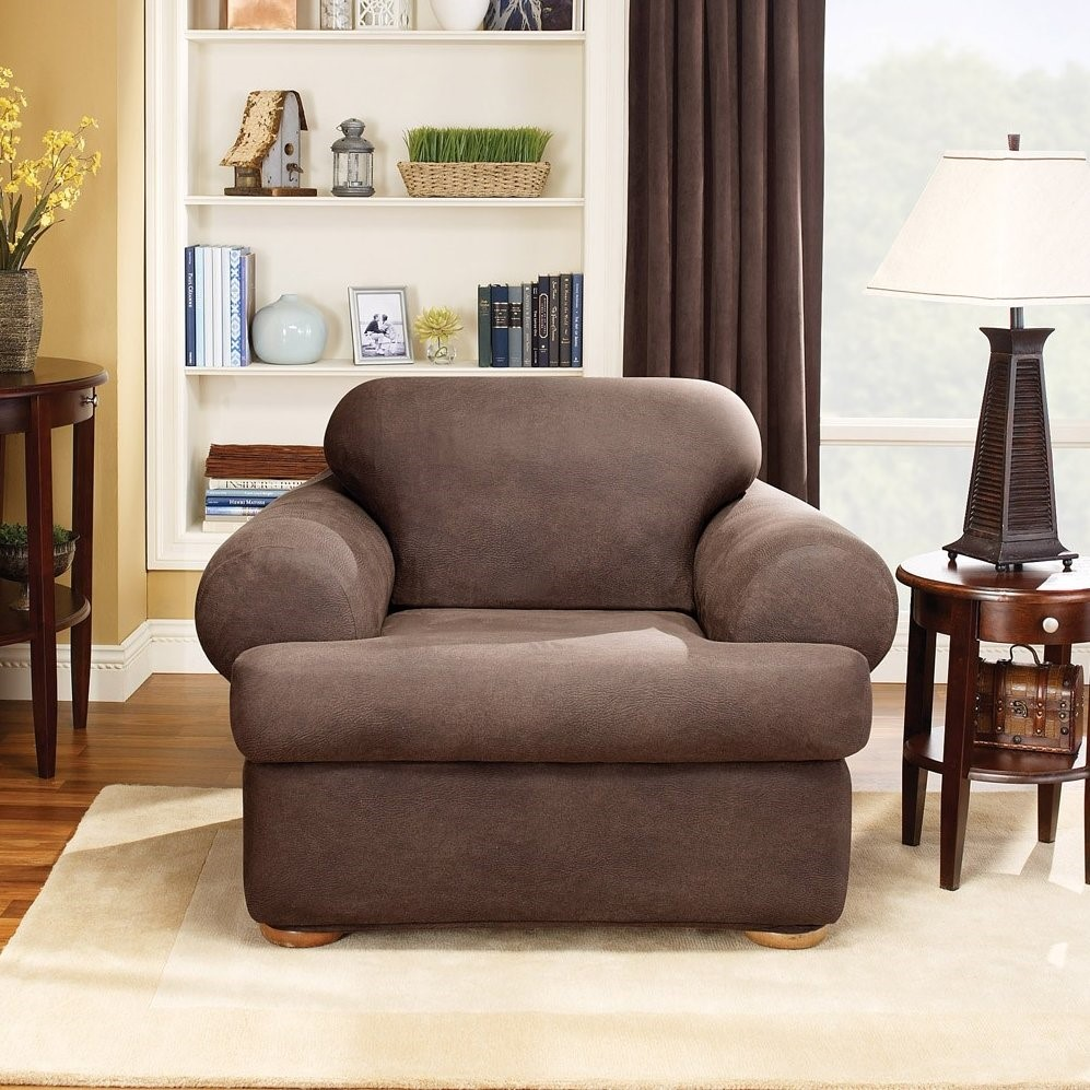Sure Fit Stretch Leather 2 Piece T Cushion Chair Slipcover Brown Walmart Com Walmart Com
