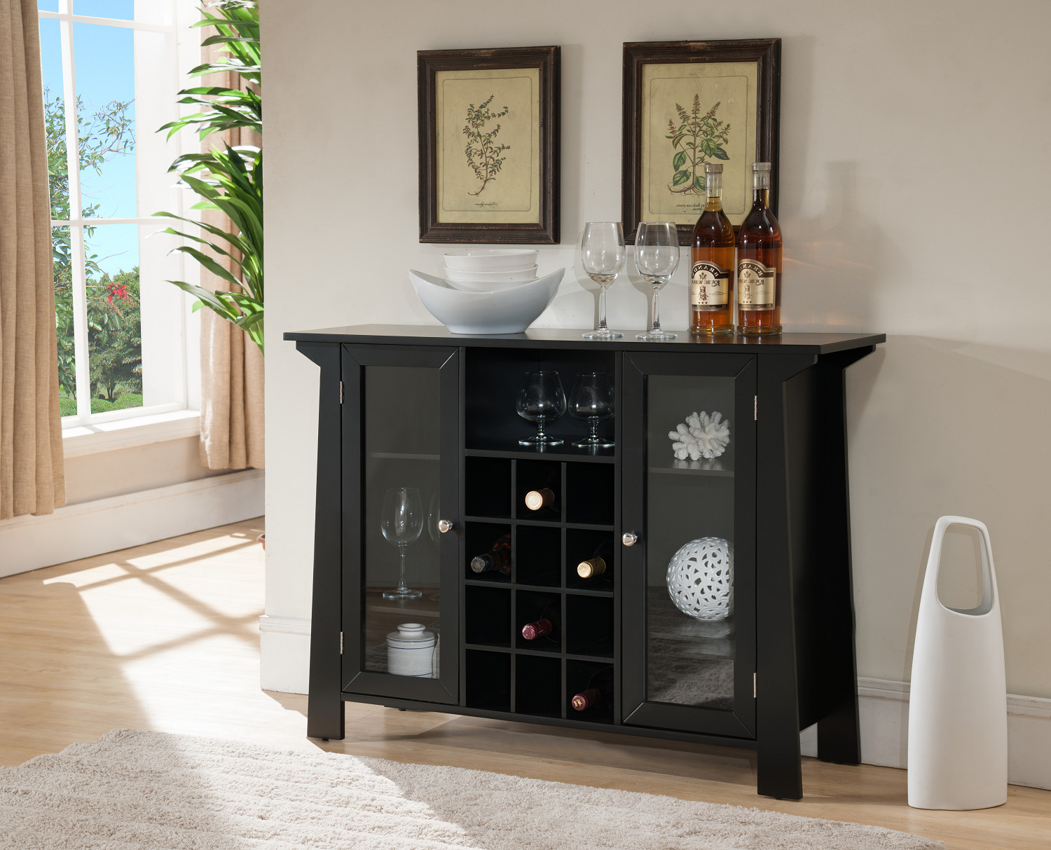 Buffet Sideboard With Wine Rack Jesse Black Wood Contemporary Wine Rack Sideboard Buffet Display Console Table With Glass Cabinet Storage Doors Shelf