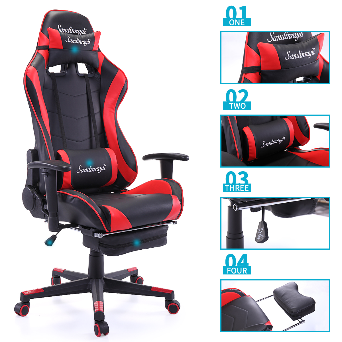 High Back Desk Chair Red Racing Chair Ergonomic High Back Office Desk Chair