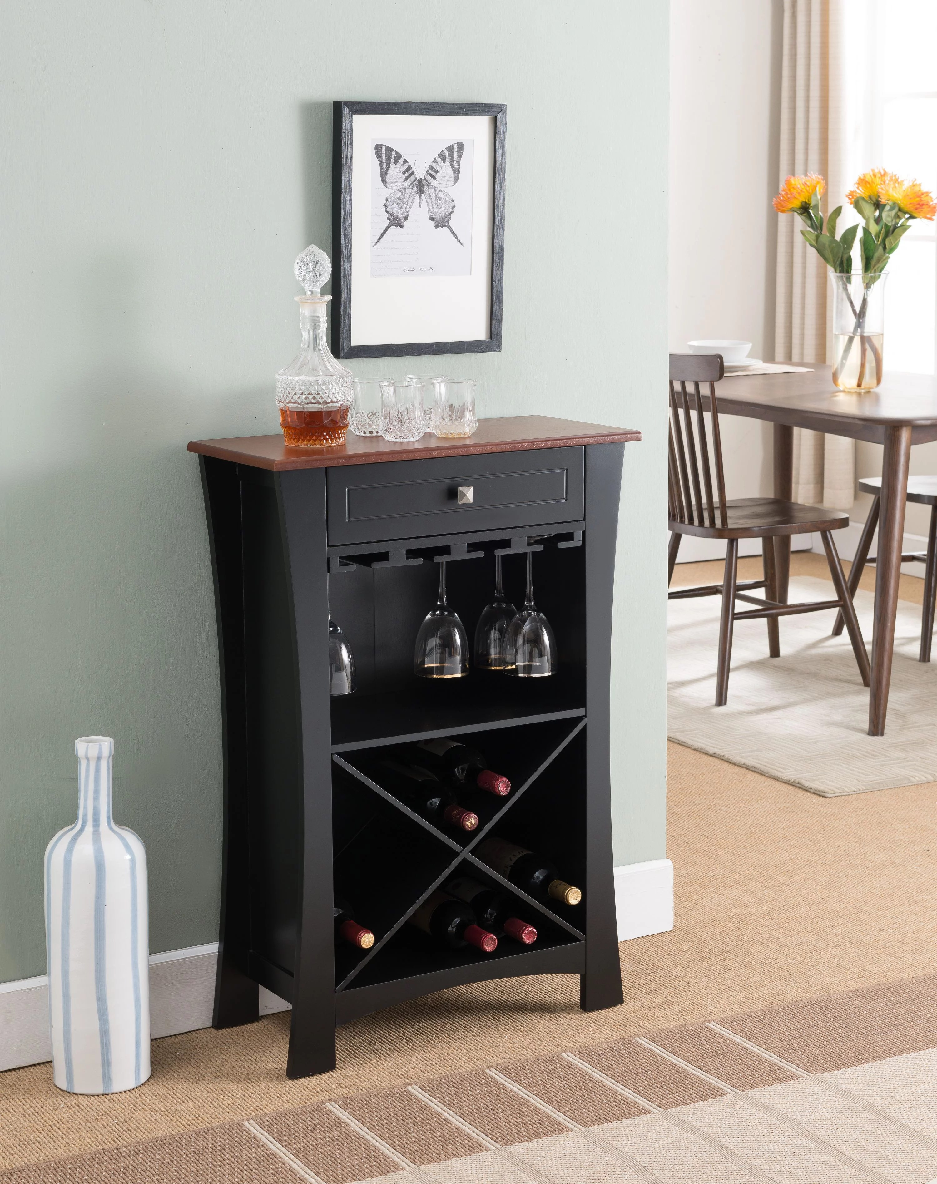 Wine Holder Stand Jasper Black Natural Wood Transitional Wine Rack Buffet Display Stand With Cup Holders Drawer Shelves