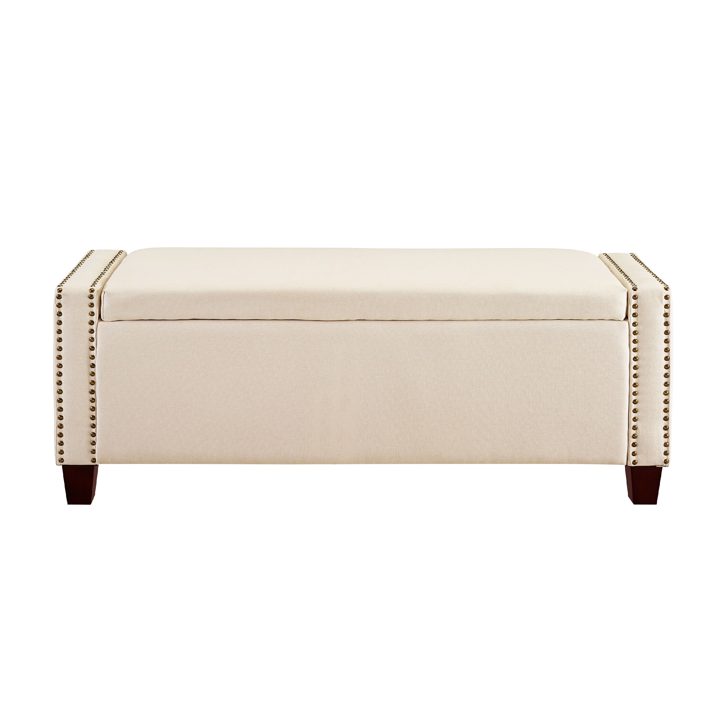 Bed End Storage Upholstered End Of Bed Storage Bench In Linen Beige