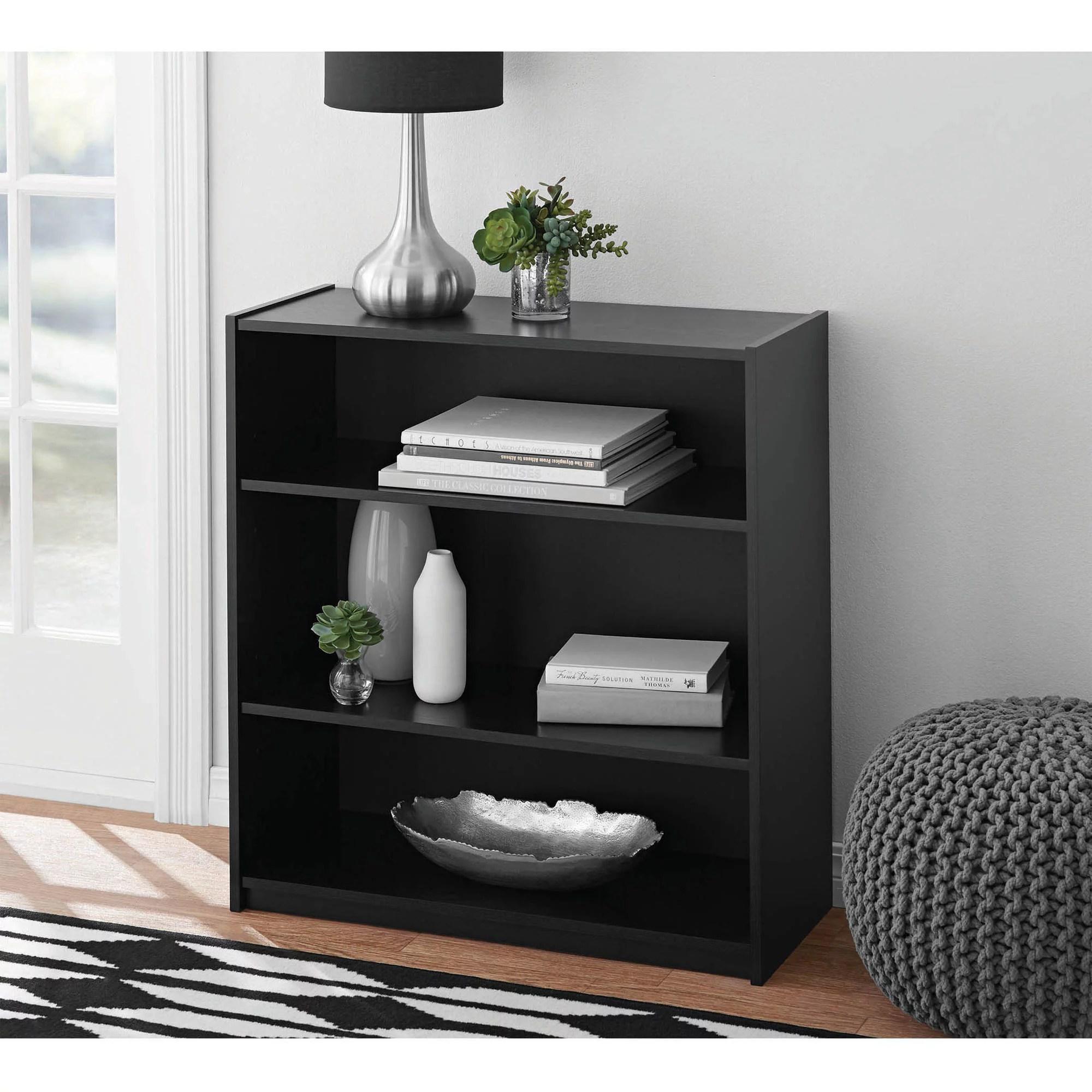 Adjustable 3 Shelf Wood Bookcase Storage Shelving Book