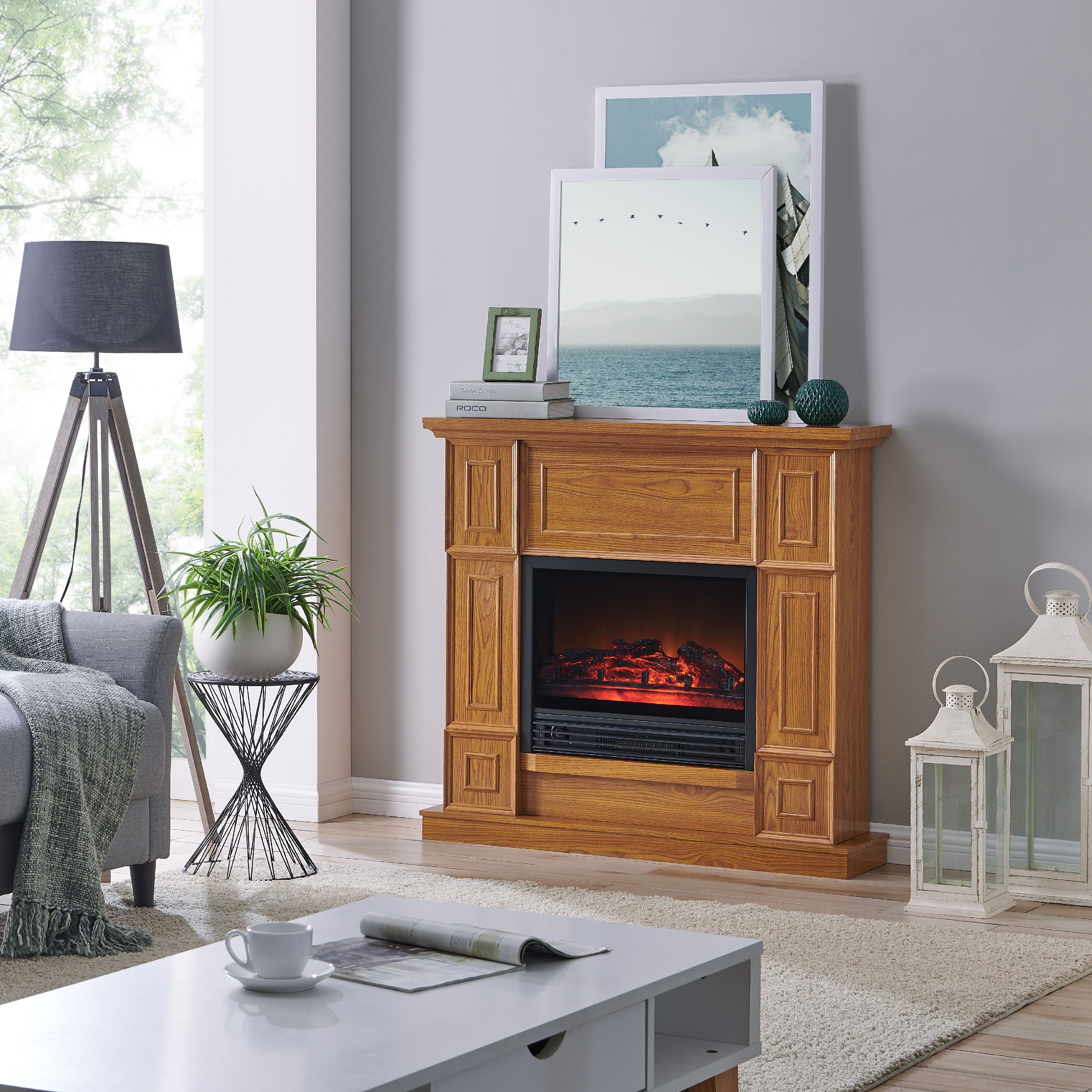 Living Room Electric Fireplace Bold Flame 43 31 Inch Electric Fireplace In Golden Oak