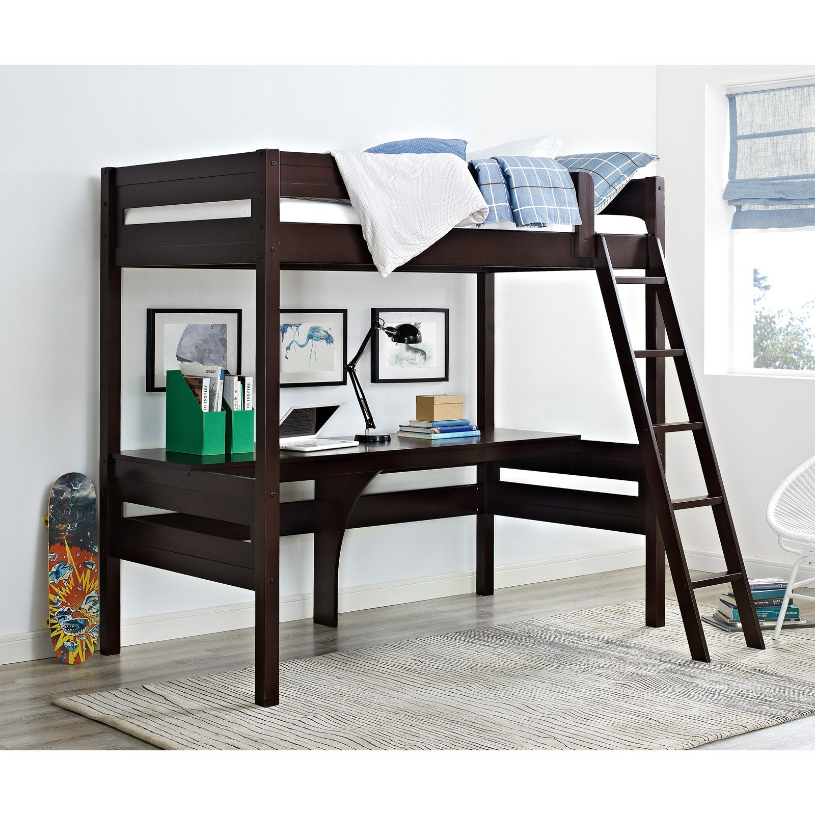 Bed With Desk Dorel Living Harlan Twin Wood Loft Bed With Desk Multiple Colors