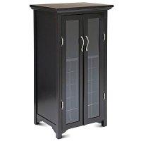 Wine Cabinet with French Glass Doors, Espresso - Walmart.com
