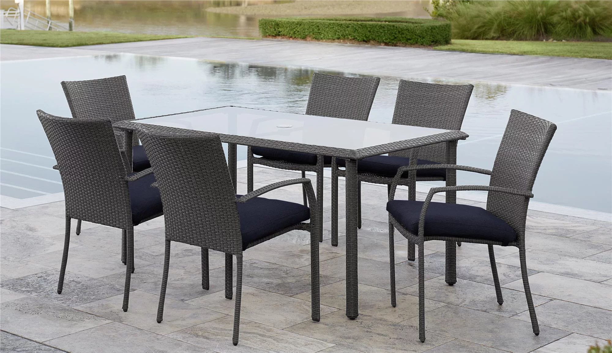 Cosco Lakewood Ranch 7 Piece Steel Woven Wicker Patio