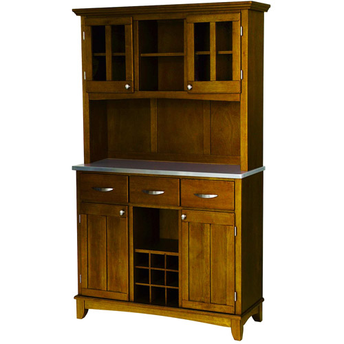 Home Styles Large Buffet with Two Glass Door Hutch ...