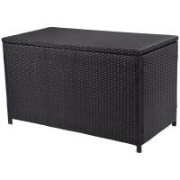 Costway 47'' Black Outdoor Wicker Deck Cushion Storage Box ...
