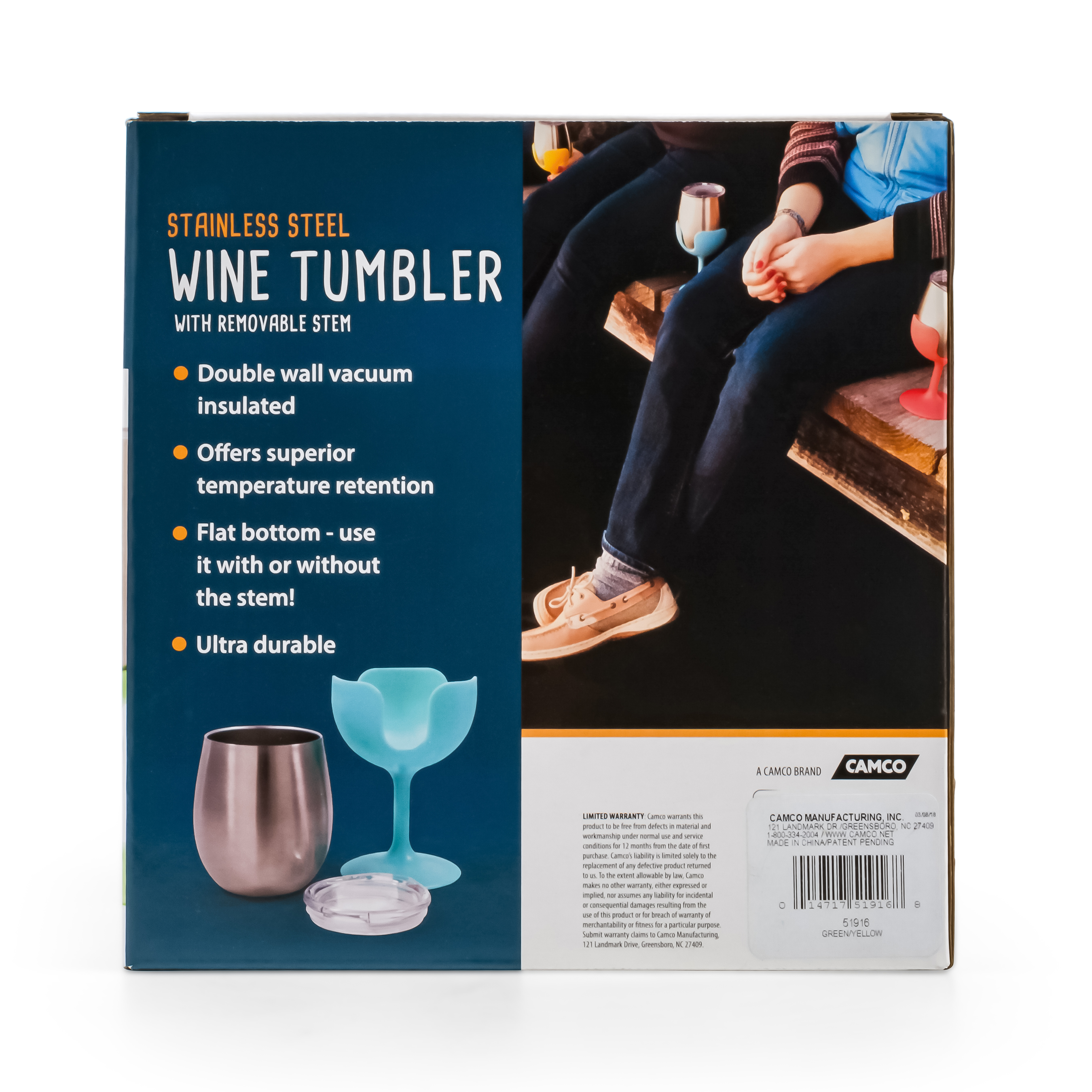 Flat Bottom Stem Wine Glasses Camco Life Is Better At The Campsite Wine Tumbler Aqua Blue And