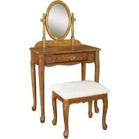 Oak Vanity, Mirror and Bench Set - Walmart.com