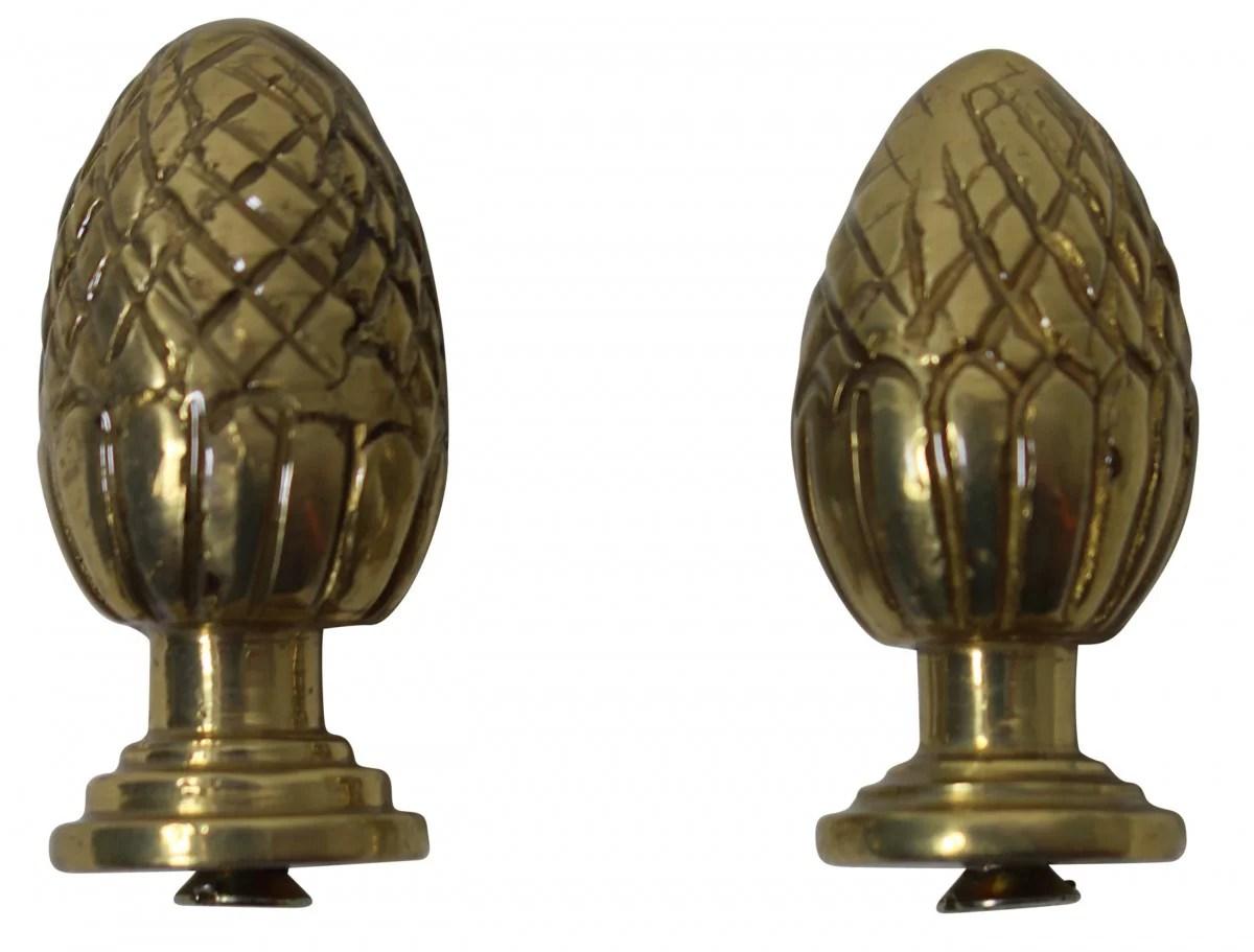 Brass Stair Carpet Rod Ball Finial Pineapple Tip Pair