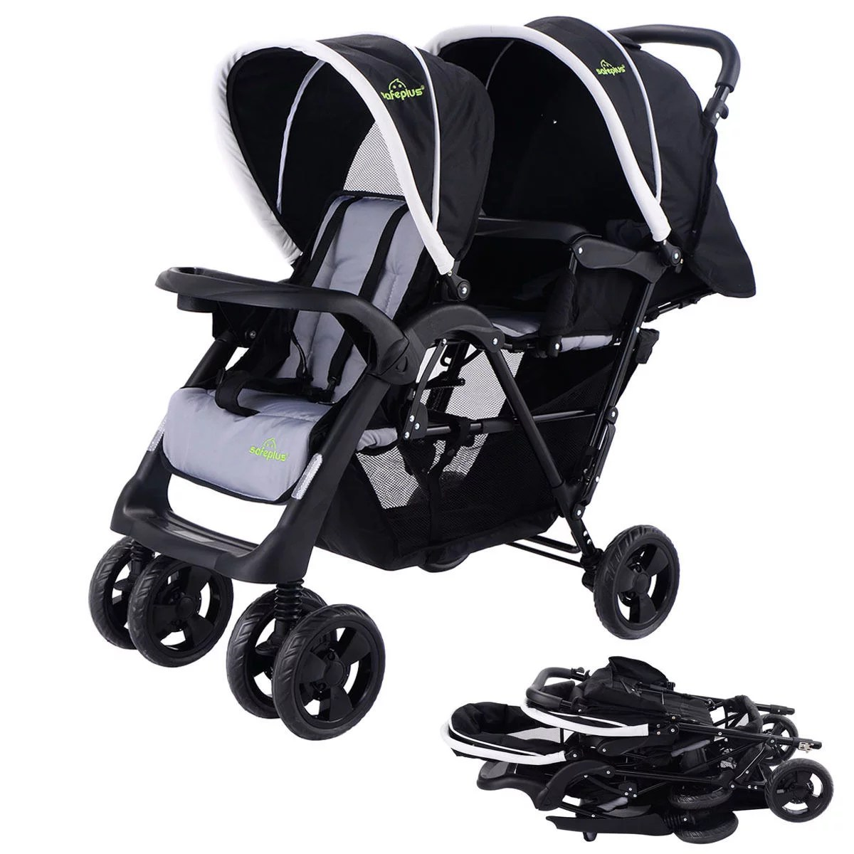 Twin Stroller And Carseat Costway Foldable Twin Baby Double Stroller Kids Jogger Travel Infant Pushchair