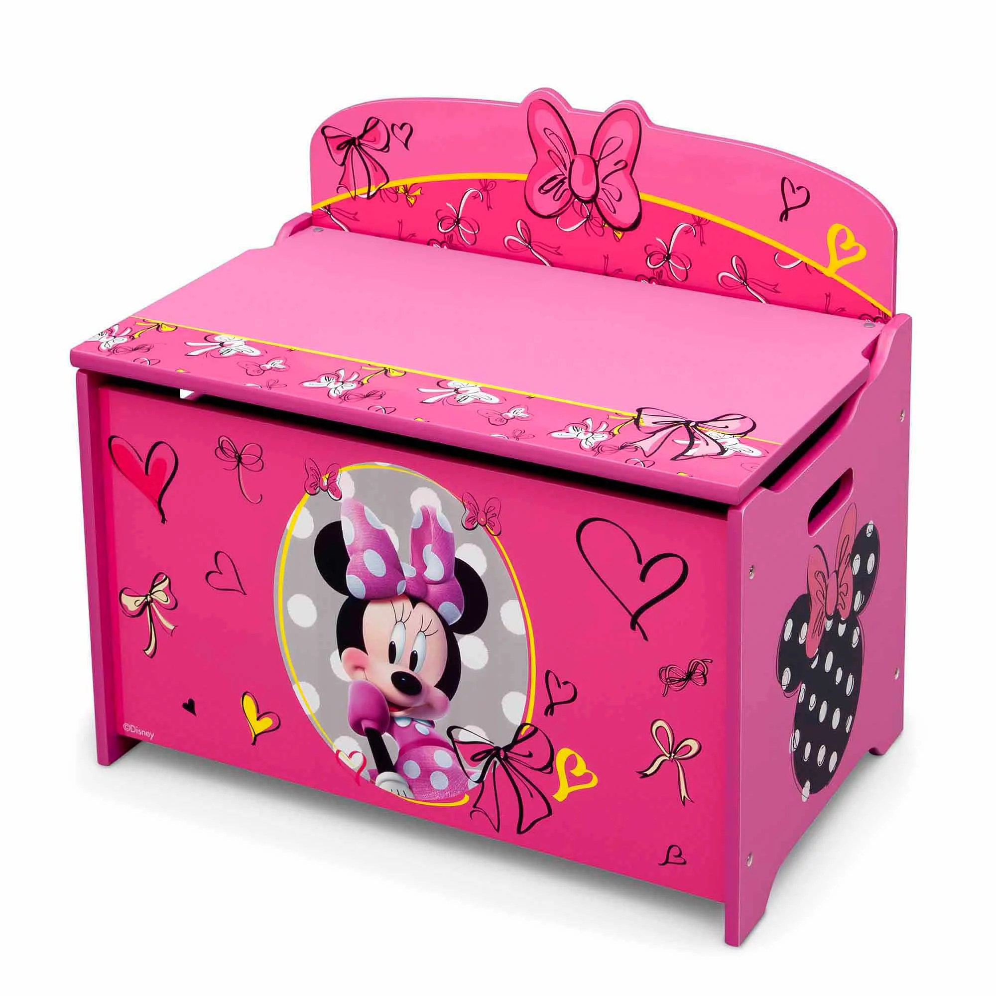 Toy Chests Disney Minnie Mouse Deluxe Wood Toy Box By Delta Children