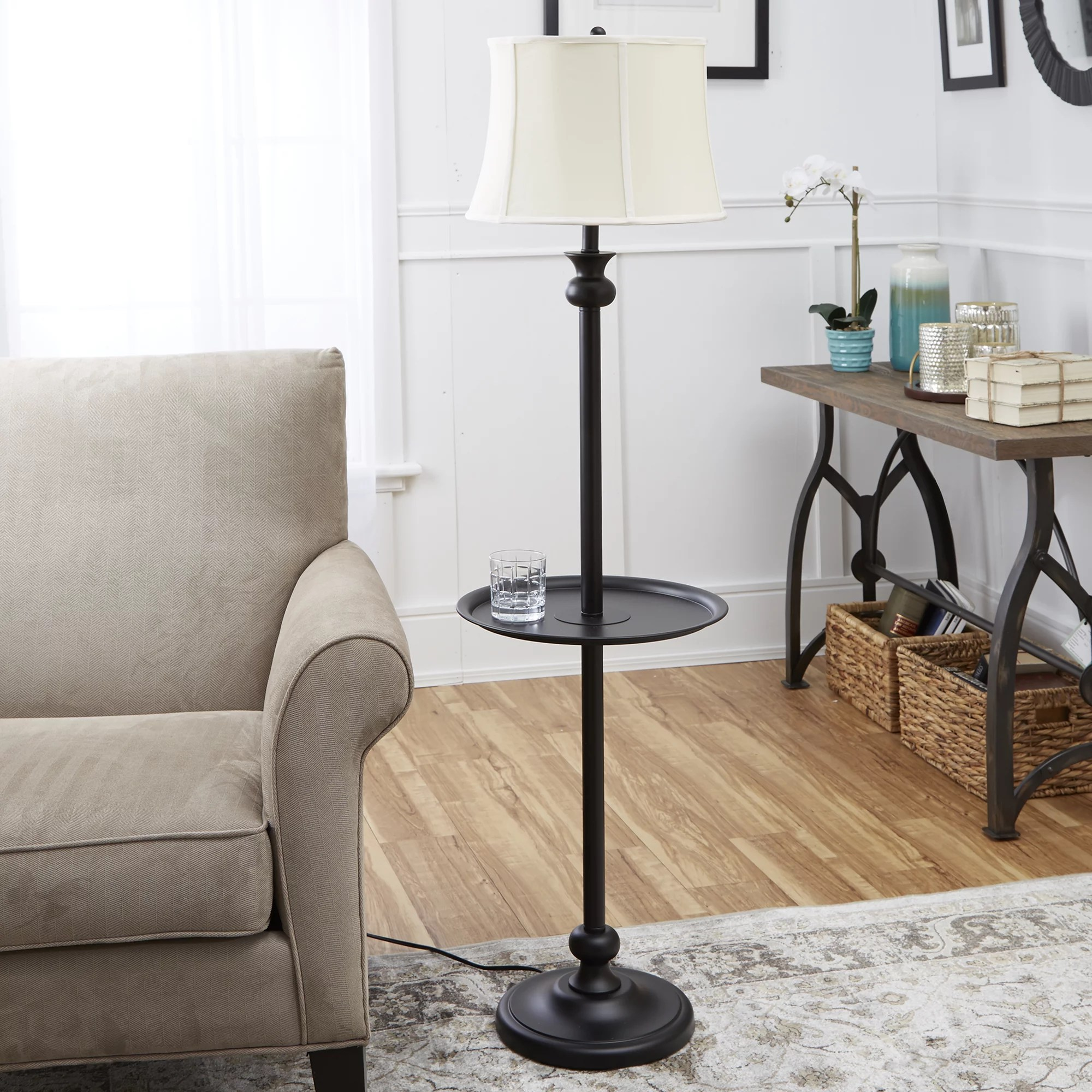 Floor Table Lamps Mainstays 72 Combo Floor Lamp With Adjustable Reading Lamp Brown