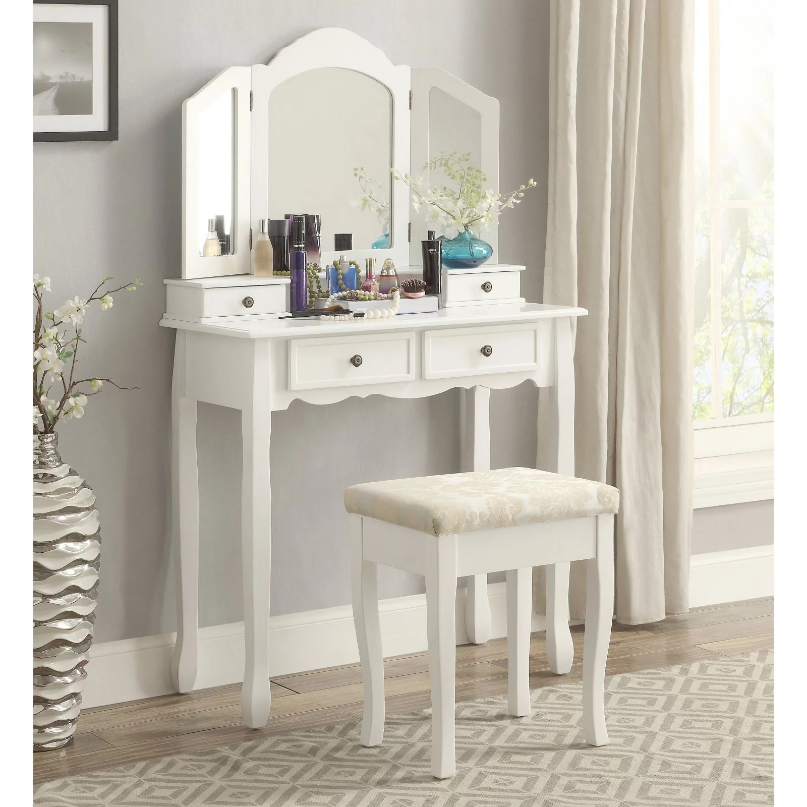 Wooden Make Up Table Roundhill Furniture Sanlo White Wooden Vanity Make Up Table And Stool Set