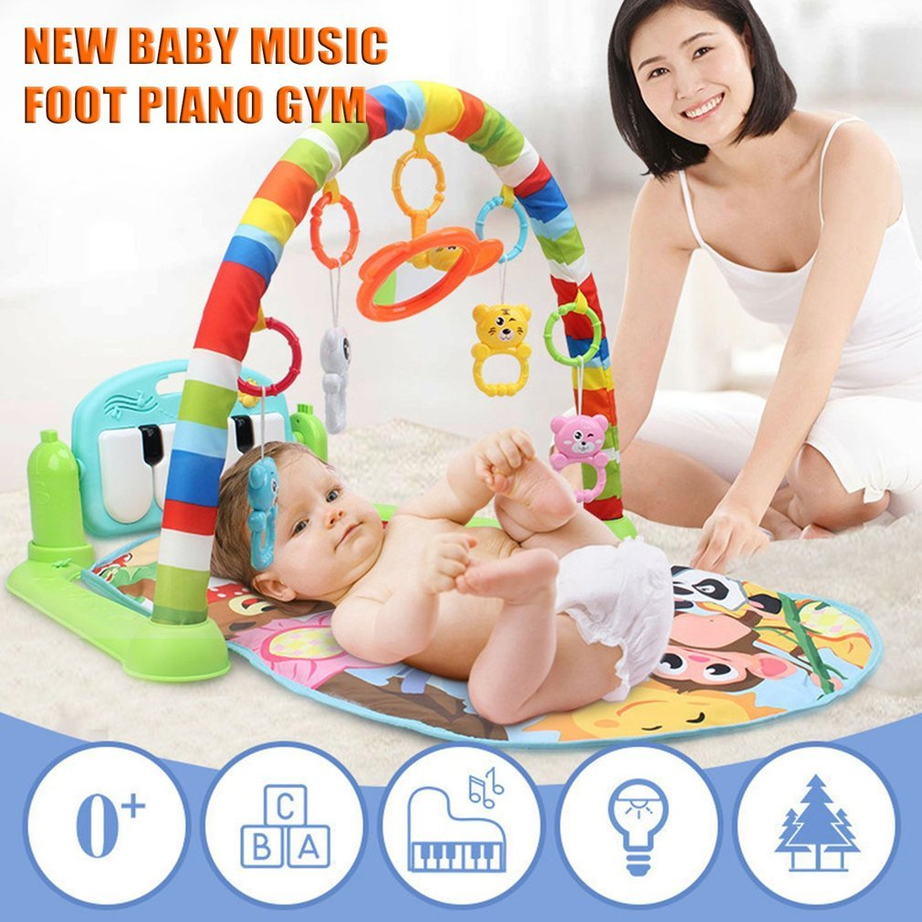 Baby Activity Center Baby Piano Activity Center Gym Piano Gym Toddler Gym Blanket Piano Pedal Fitness Frame Toy With Music Green