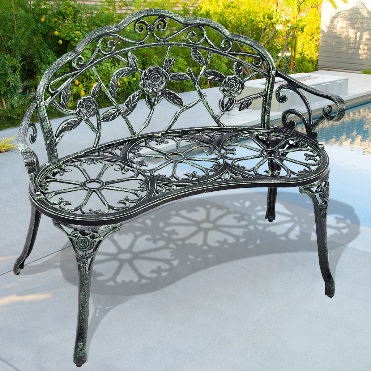 Small Garden Bench Costway Patio Garden Bench Chair Style Porch Cast Aluminum Outdoor Rose Antique Green