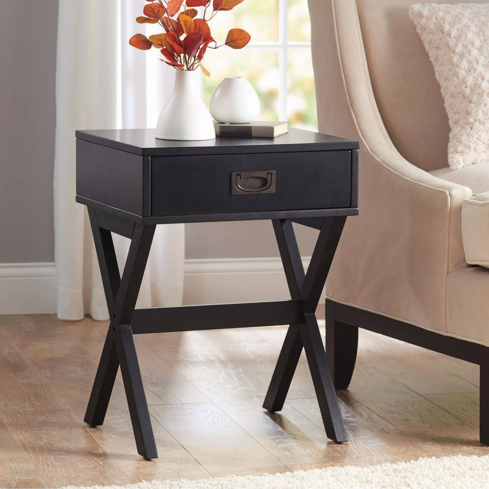 Black End Tables With Drawer Better Homes Gardens X Leg Accent Table With Drawer Multiple Colors