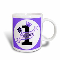 3dRose Number One Mom Purple, Ceramic Mug, 11-ounce ...
