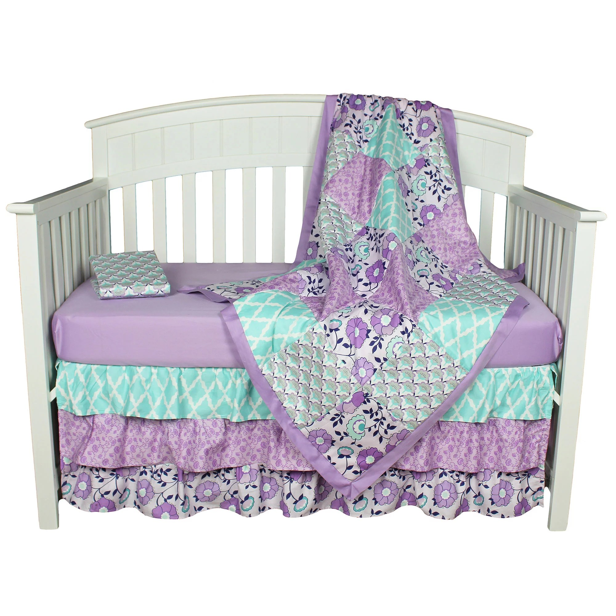 Full Crib Bedding Sets The Peanut Shell Baby Girl Crib Bedding Set Purple Floral Design Zoe 4 Piece Set Includes Coverlet Dust Ruffle And Two Fitted Sheets