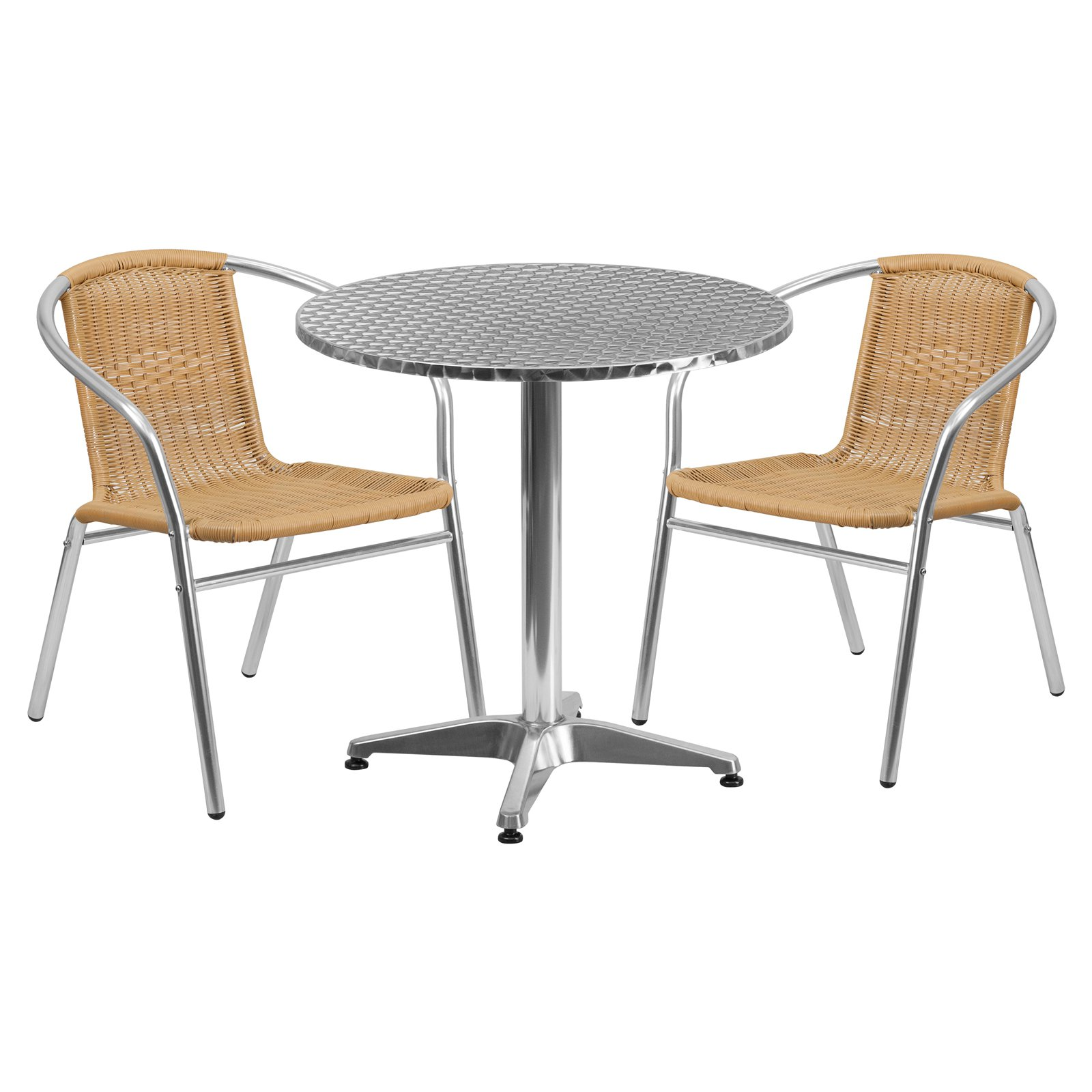 Rattan Chairs Flash Furniture 27 5 Round Aluminum Indoor Outdoor Table With 2 Rattan Chairs Multiple Colors