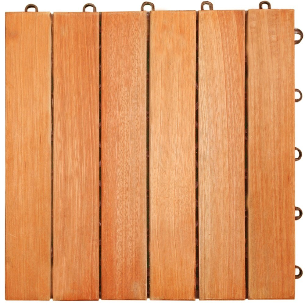 Interlocking Deck Tiles Alk Brands Patio Outdoor Hardwood 6 Slats Interlocking Deck Tiles 10 Pk