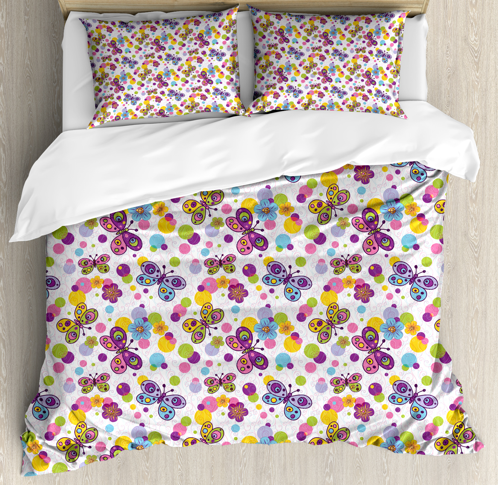 Patterned Duvet Cover Butterfly Queen Size Duvet Cover Set Vibrant Flora Patterned And Polka Dotted Background With Vintage Inspired Animals Decorative 3 Piece Bedding