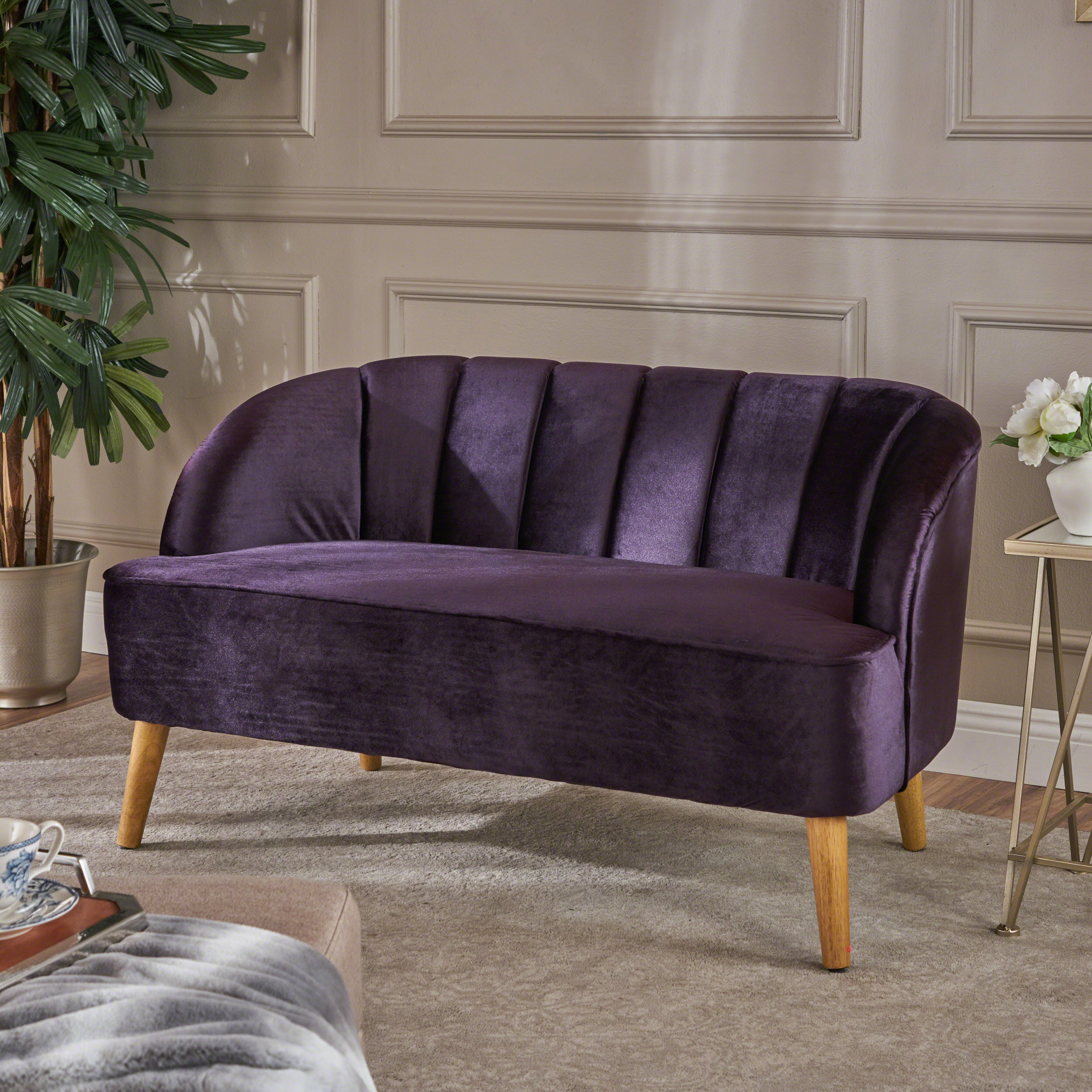 Noble House Furniture Noble House Modern Velvet Sofa Blackberry Walmart