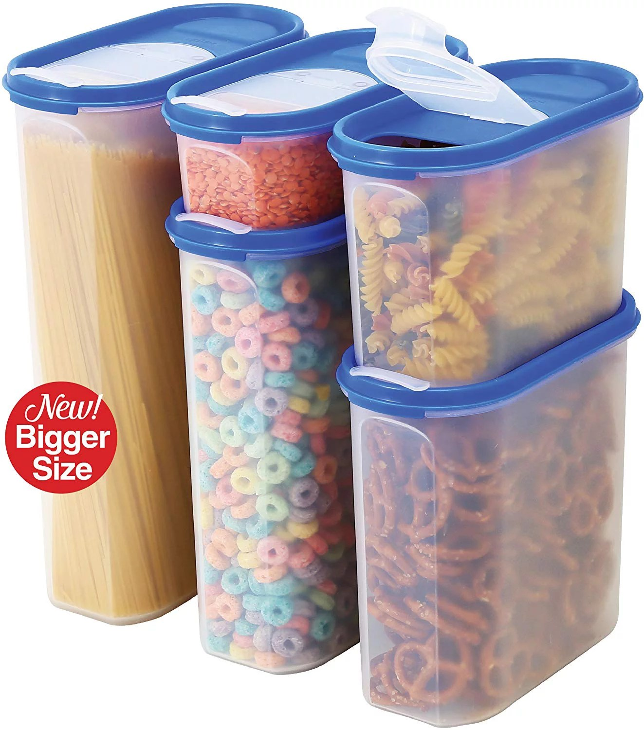 Food Storage Containers Set Stacko 10 Pc Set Airtight Dry Food Container With Pouring Lids Durable Clear Frosted Plastic Bpa Free Space Saver Modular Design 5 Container Set Walmart Com Walmart Com