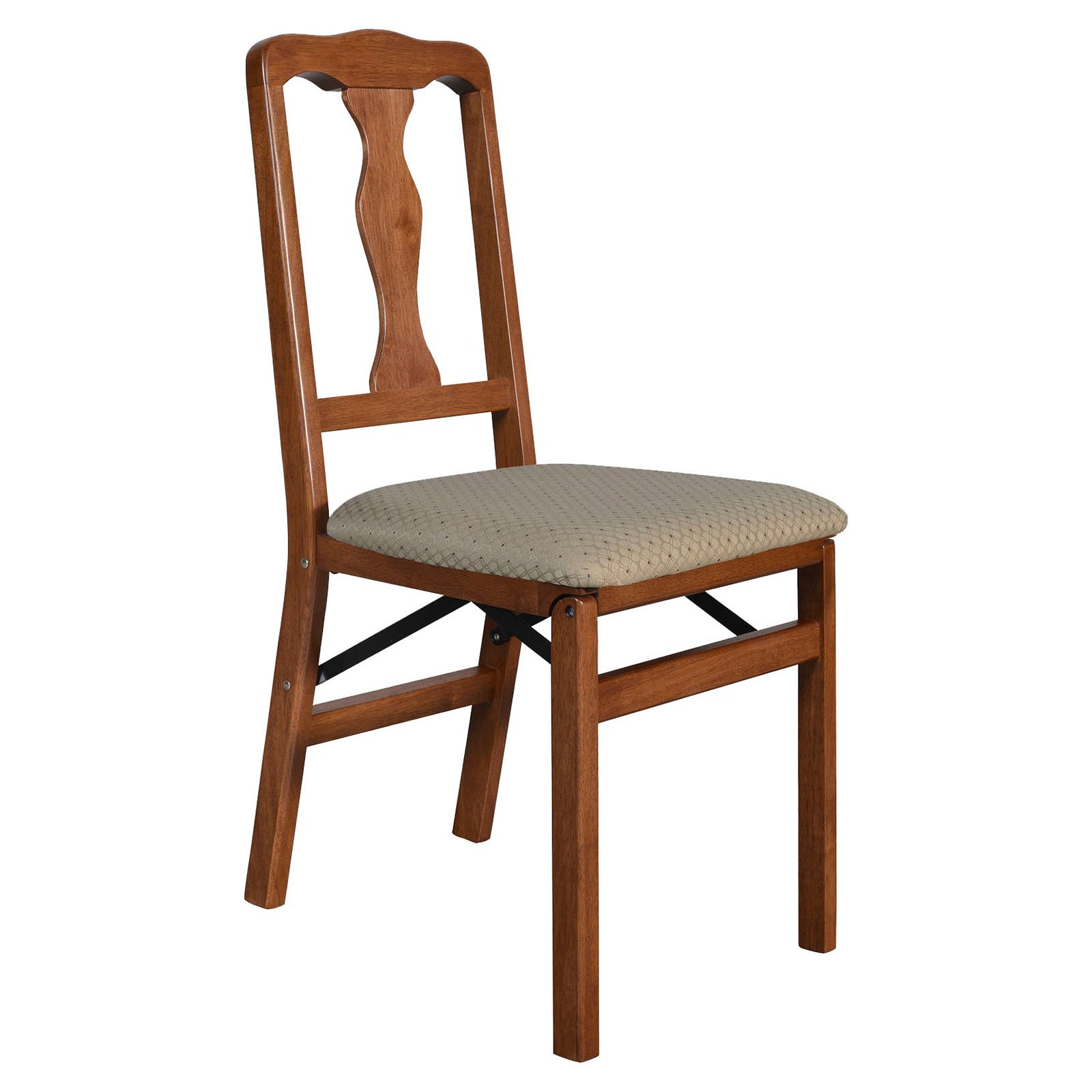 Folding Wooden Chairs Stakmore Queen Anne Upholstered Folding Chair Set Of 2