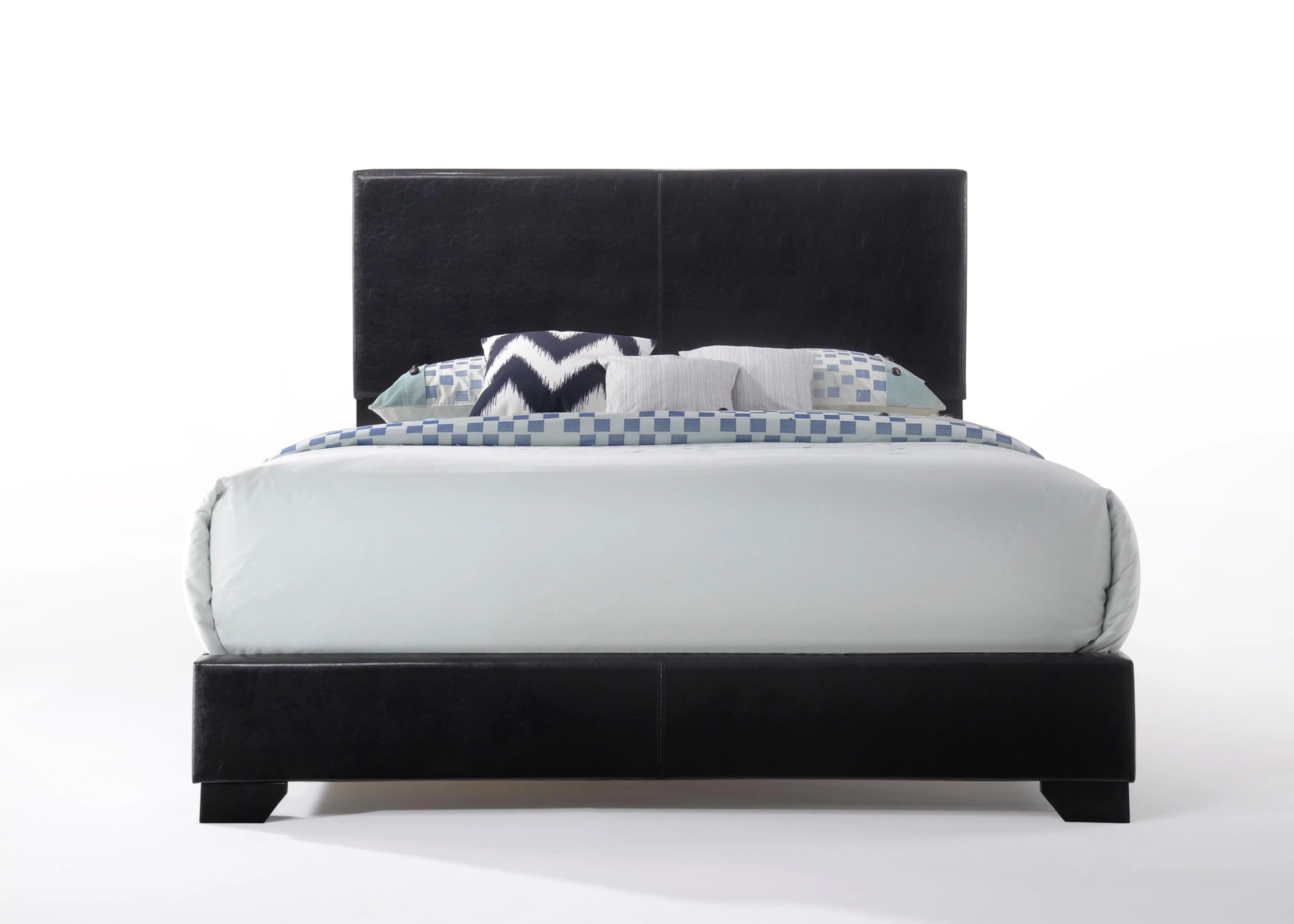 Leather Bed Acme Ireland Queen Faux Leather Bed Black Walmart