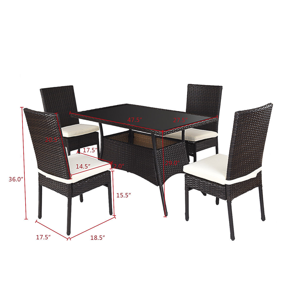 Rattan Table Costway 5 Piece Outdoor Patio Furniture Rattan Dining Table Cushioned Chairs Set