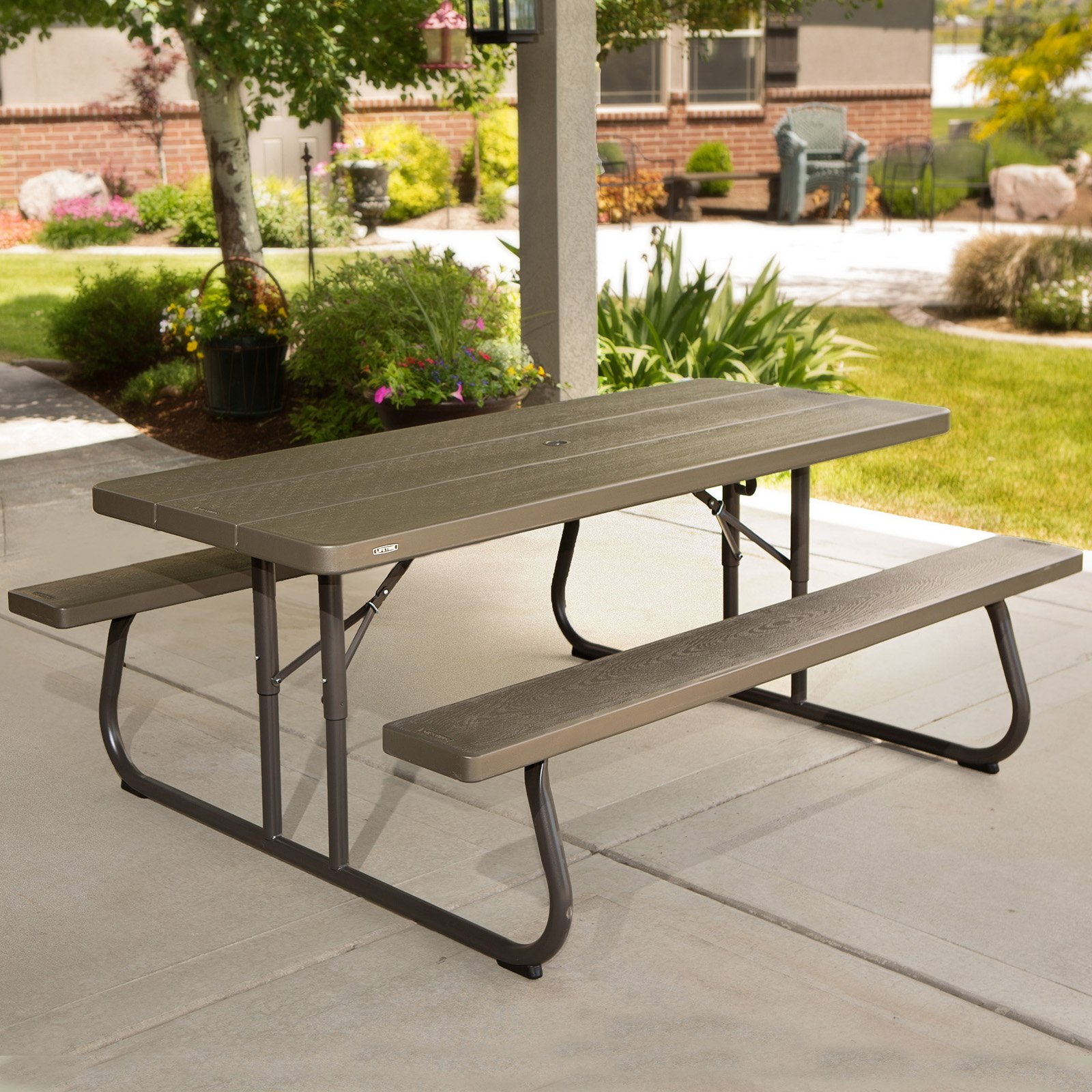 Picnic Decor Lifetime 6 Foot Picnic Table Brown 60105