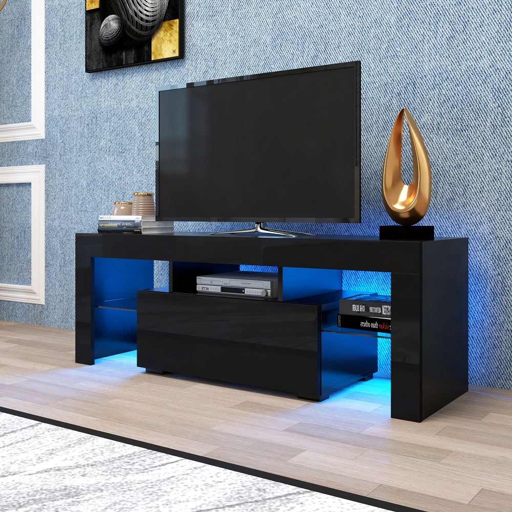 Tv Sideboard Modern Tv Console Cabinet, Segmart Modern Black Tv Stand With 12 ...
