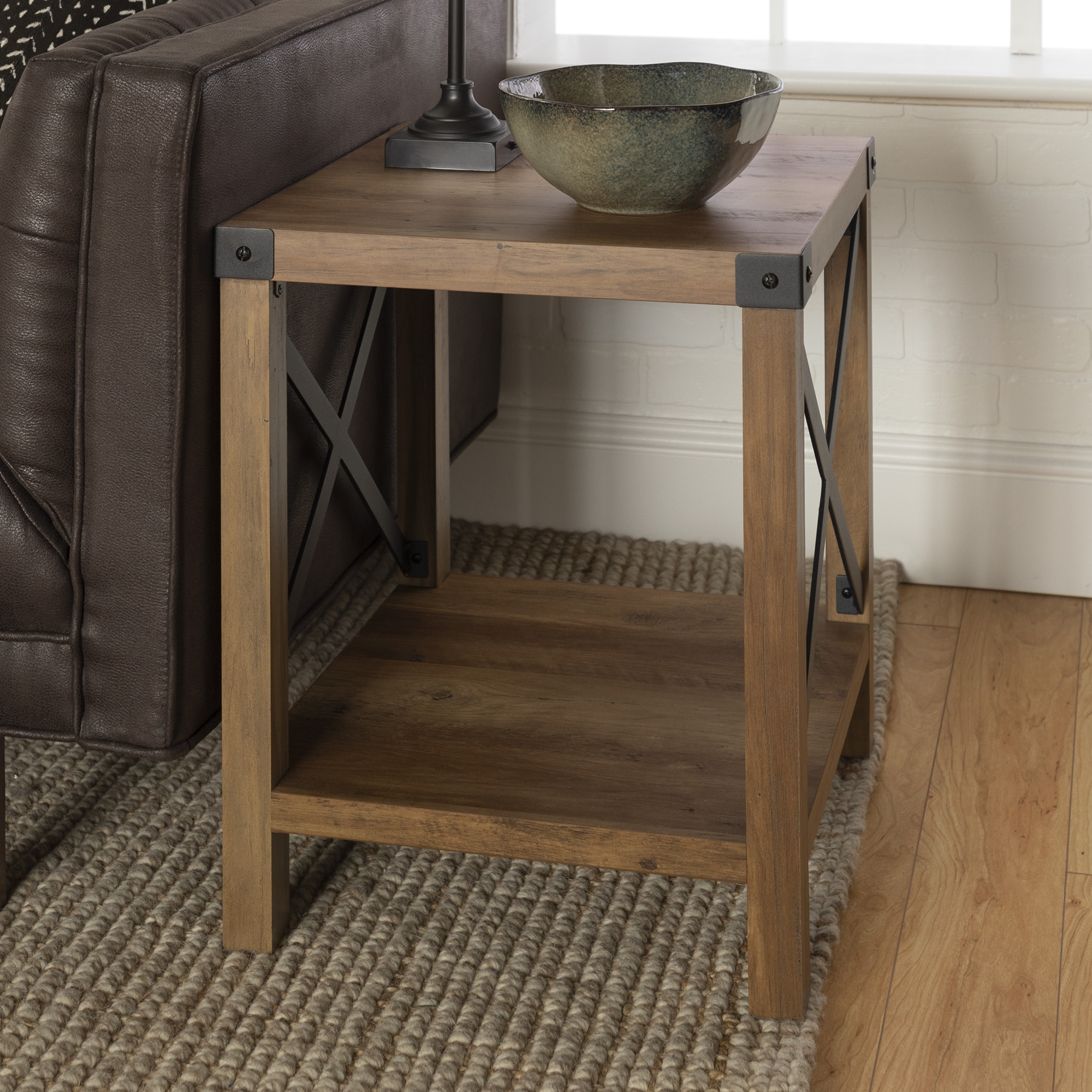 Rustic Wood End Table Manor Park Rustic Farmhouse Wood Square End Table Reclaimed Farmhouse