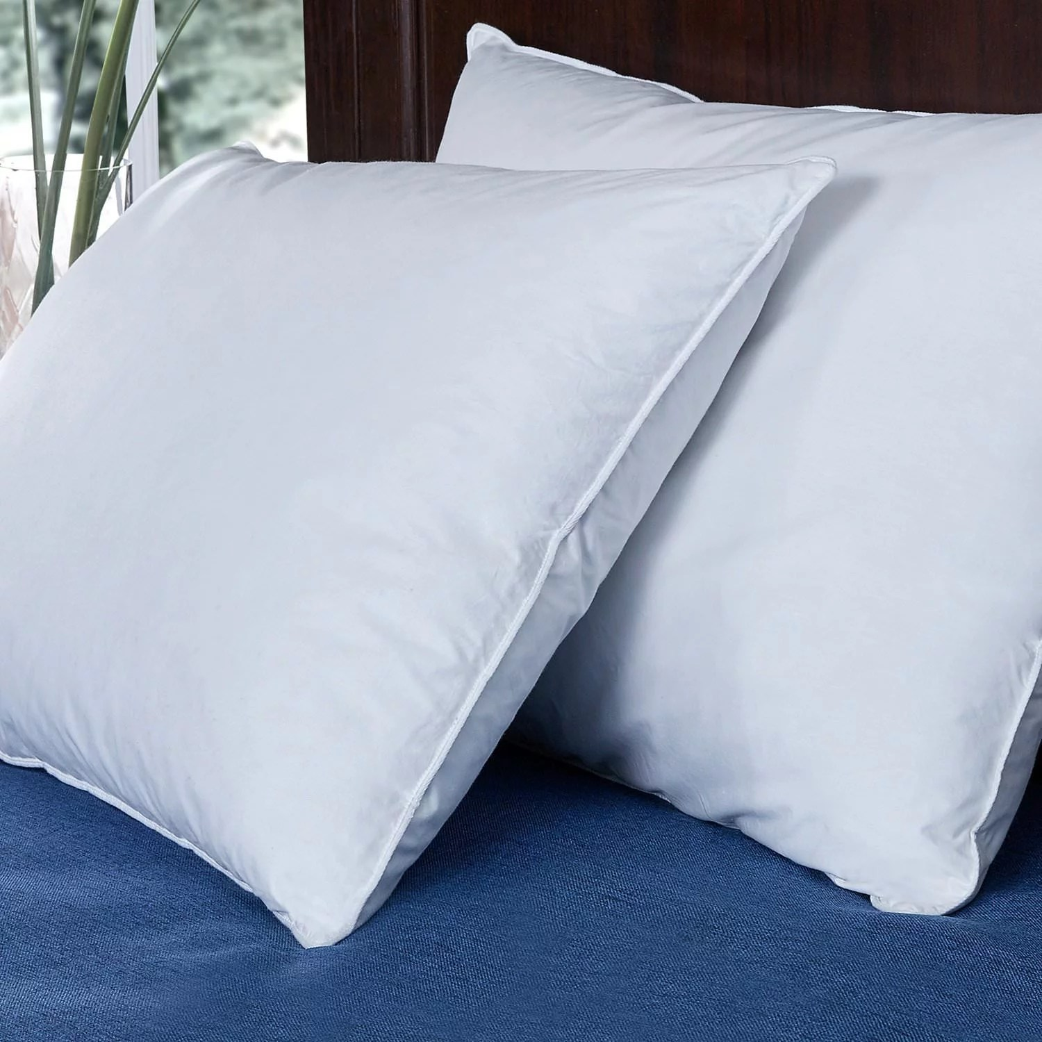 Standard Bed Pillows Puredown Down And Feather Bed Pillow White Set Of 2 Standard Queen Size