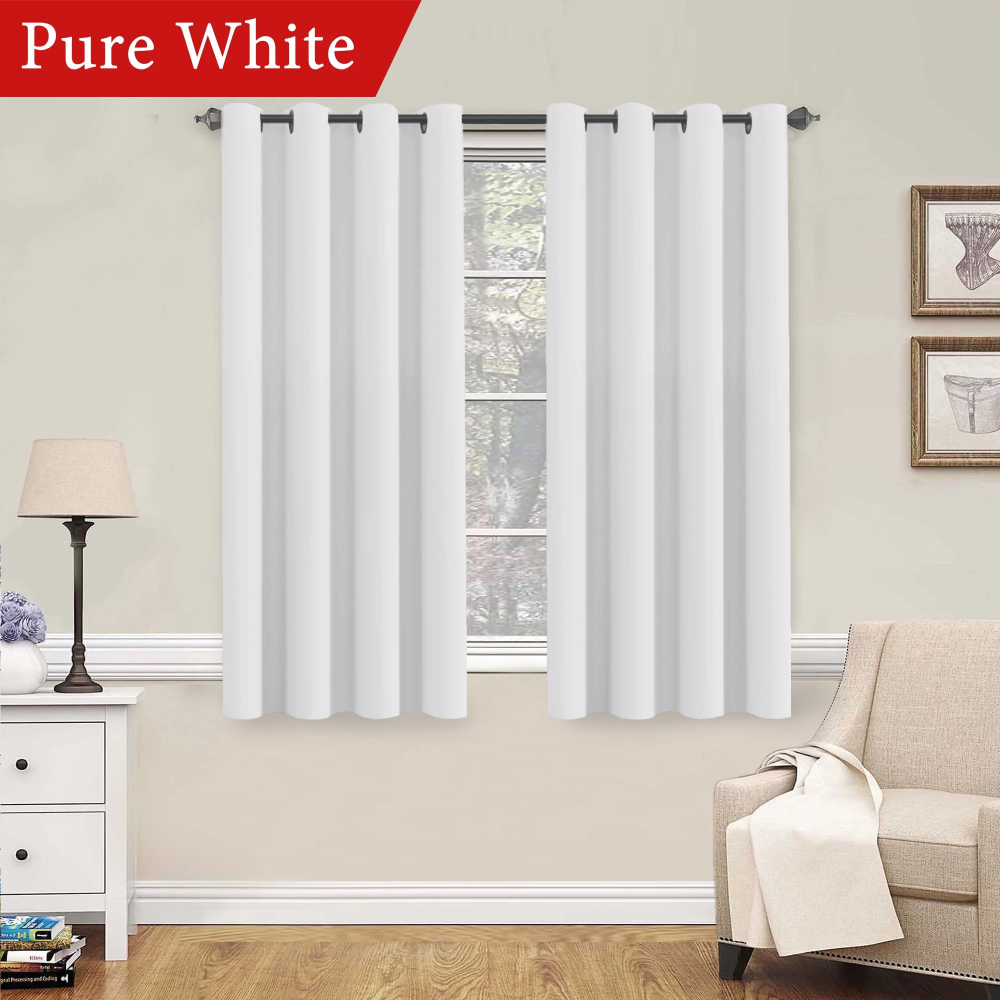 Bedroom Curtains Room Darkening H Versailtex Pure White Curtains 63 Inch Length Window