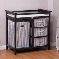 Costway Black Infant Baby Changing Table w/3 Basket Hamper