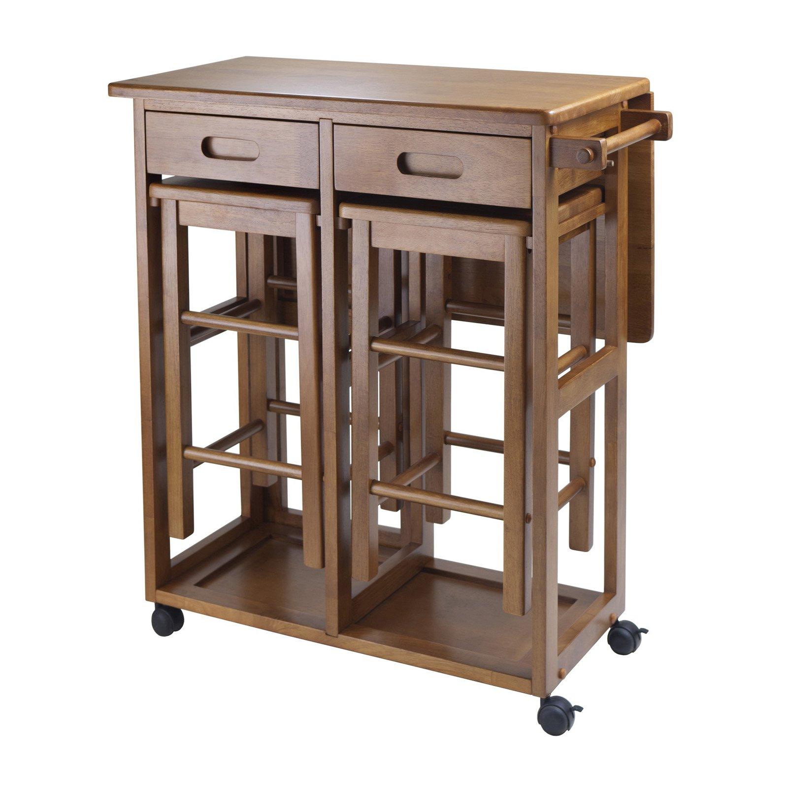 Cheap Kitchen Tables For Small Spaces Winsome Wood Suzanne 3 Piece Kitchen Island Set Multiple Finishes